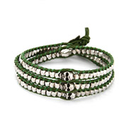Chen Rai Silver Nuggets and Skull Wrap Bracelet on Green Leather