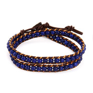 Chen Rai Blue Cabochon Bead Wrap Bracelet on Brown Leather
