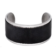 Engravable Stainless Steel Wide Black Leather Cuff Bracelet