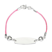 Kid's Pink Silk Cord ID Bracelet with Heart Charms