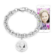 Stainless Steel Round Tag Photo Bracelet