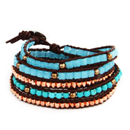 Chen Rai Amazonite and Turquoise Brown Leather Wrap Bracelet