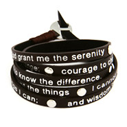 Brown Leather Serenity Prayer Wrap Bracelet
