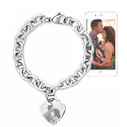 Stainless Steel Heart Tag Photo Bracelet