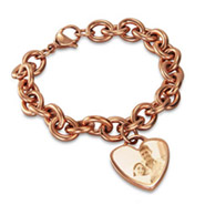 Rose Gold Heart Tag Photo Bracelet