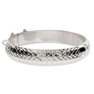 Engravable 12mm Diamond cut Sterling Silver Bracelet