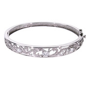 Vintage Style CZ Sterling Silver Bangle Bracelet