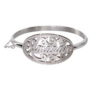 Sterling Silver Custom Nameplate Bangle Bracelet