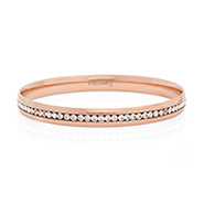 Engravable Rose Gold Plate Channel Set CZ Bangle Bracelet