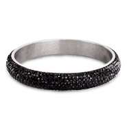 Glamorous Engravable Black Swarrovski Crystal Pave Bangle Bracelet
