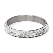 Glamorous White Swarovski Crystal Pave Bangle Bracelet