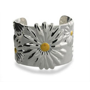 Tiffany Inspired Nature Daisy Sterling Silver Cuff Bracelet