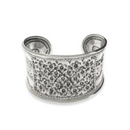 Beautiful Sterling Silver Balinese Banded Flower Cuff