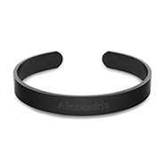 Stainless Steel Engravable Black Plate Cuff Bracelet