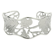 Nature Leaf Design Sterling Silver Cuff Bracelet