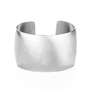 Silver Steel Wide Cuff Bracelet with Brushed Finish