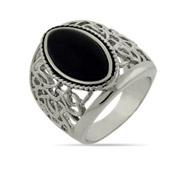 Oval Cut Onyx Ring with Intricate Weave Design