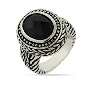 Designer Inspired Oval Cut Onyx Bali Ring