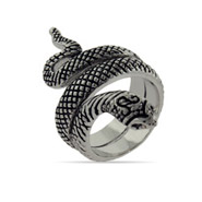 Nefertiti's Oxidized Wrapping Snake Ring