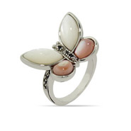 Pink and White Mother of Pearl Butterfly Ring