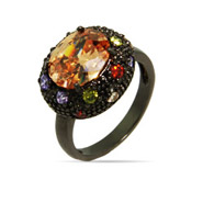 Oval Black Rhodium Ring with Champagne Stone and Multicolor CZs