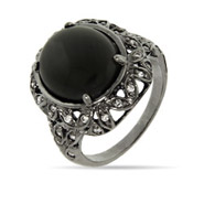 Charcoal Rhodium Ring with Onyx Stone