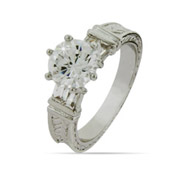 Round Brilliant CZ Engagement Ring with Baguettes Accent