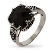 Crown Set Onyx CZ Ring with Black Inlay Design