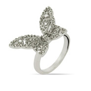 Delicate Heart Wing Butterfly Ring