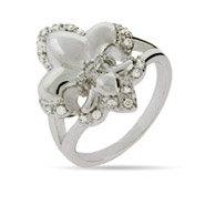 Puffed Fleur de Lis Ring with CZ Accents