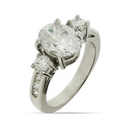 Dazzling Oval Cut Three Stone Engagement Ring