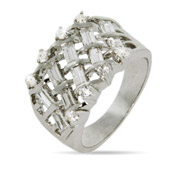 CZ Baguette Basketweave Design Right Hand Ring