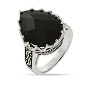 Pear Drop Faceted Onyx Ring with Bali Design