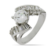 Brilliant Cut CZ Engagement Ring with Scrolling Baguettes