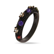 Multi Color CZ Black Rhodium Ring