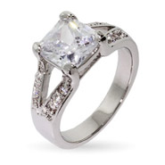 Split Band 3 Carat Princess Cut CZ Engagement Ring