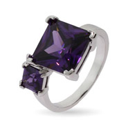 Double Princess Cut Amethyst CZ Ring