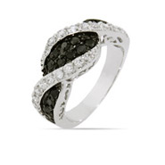 Black and White CZ Twist Ring