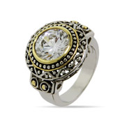 Designer Inspired Round Diamond CZ Bali Style Ring