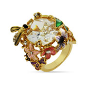 Designer Inspired Gold Vermeil Garden of Flowers Cocktail Ring