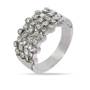 Four Row Bezel Set Crystal Ring