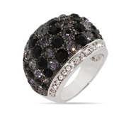 Glamorous Red Carpet Style Onyx Domed CZ Cocktail Ring