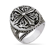 Designer Inspired Renaissance Style Single CZ Cross Ring