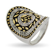 Designer Inspired Concave Oval Bali Design Ring