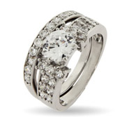 Dazzling Pave CZ Engagement Set with Brilliant Cut Center Stone