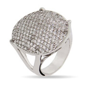 Dazzling Oval Pave CZ Cocktail Ring