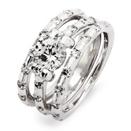 Dazzling Brilliant Cut Wedding Ring Set with CZ Accents