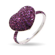 Dazzling Amethyst Swarovski Crystal Purple Heart Ring
