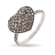 Sparkling Gray Swarovski Crystal Heart Stud Ring