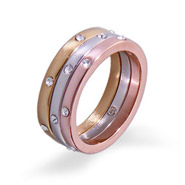 Three Tone Etoile Stackable Ring Set